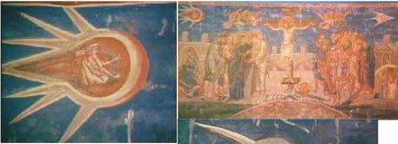 """Фрезканазвана The Crucifixion """"Распятие на кресте"""" неизвестным художником в 1350 г. Фреска находится над алтарем монастыря Visoki Descani в Косово, Сербия. Картина изображает два летящих НЛО над крестом в верхних углах картины."""