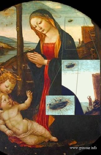 """The Madonna with Saint Giovannino (""""Мадонна со святым Джованнино""""). Картина Доменико Гирландая XV в.н.э. Картина находится в Palazzo Vecchio, Флоренция, и изображает мать Мэри Иисуса, смотрящею вниз, в то время как на заднем плане вы можете увидеть ясную картину того, как запечатлено НЛО и человек стоящий на выступе уставился на странный летящий объект в небе."""