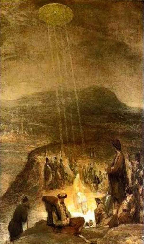 """""""Крещение Христа"""" - Арт де Гелдер (ученик Рембрандта) 1710 год. Вы видите в небе несомненно космический корабль, с сияющими вниз лучами на Христа."""