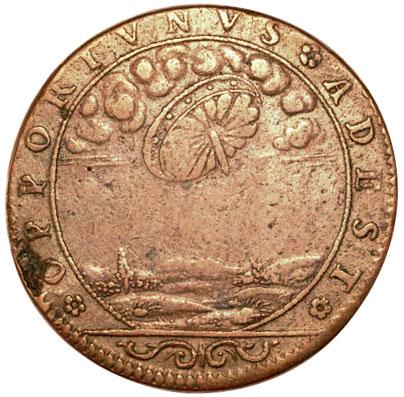 """НЛО на старинной французской монете. Этот странный французский жетон с 1680 года показывает то, что в небе летит НЛО и что более интригует так это надпись, переводящаяся в вольном переводе как """"Это тут в подходящее время""""."""